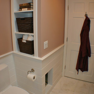 Example of a transitional bathroom design in Boston