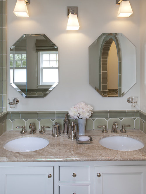 Inspiration For A Timeless Bathroom Remodel In San Francisco With White  Cabinets And Recessed Panel