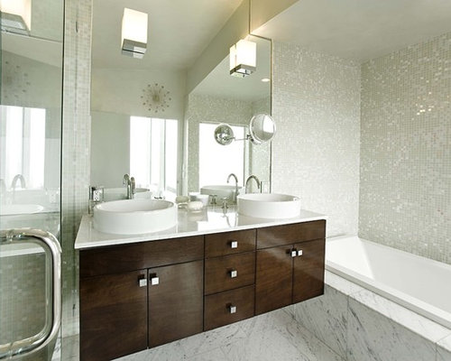 Example Of A Trendy Marble Floor Bathroom Design In San Francisco With A  Vessel Sink