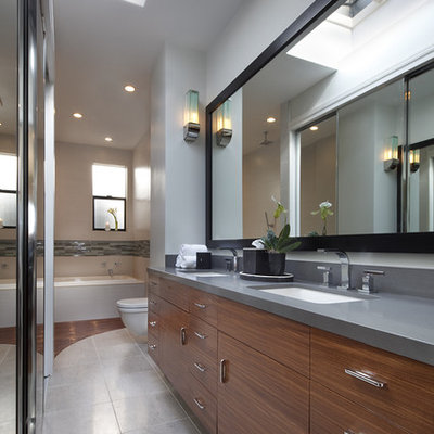 Example of a trendy bathroom design in Dallas with an undermount sink
