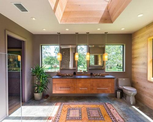 Inspiration For A Large Contemporary Master Beige Tile And Stone Tile  Porcelain Floor Bathroom Remodel In
