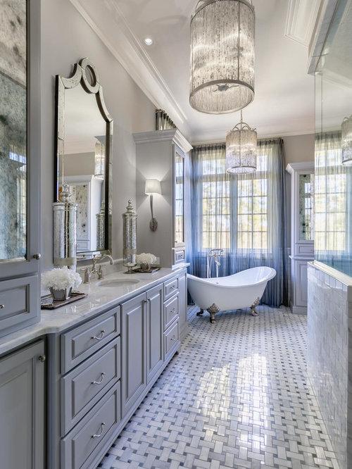 Large Elegant Master White Tile And Ceramic Tile Ceramic Floor And Gray  Floor Bathroom Photo In