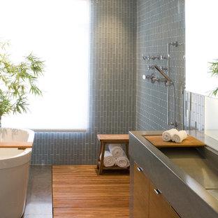 Trendy bathroom photo in San Francisco with a trough sink