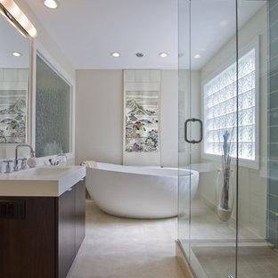 Inspiration For A Huge Modern Master Stone Tile And Beige Limestone Floor Bathroom Remodel In