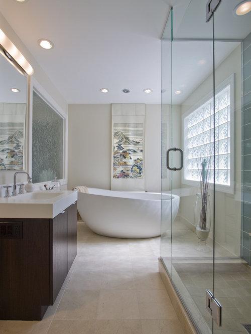 Inspiration For A Huge Modern Master Stone Tile And Beige Tile Limestone  Floor Bathroom Remodel In