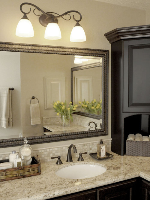 Elegant Travertine Tile Bathroom Photo In Houston With Granite Countertops