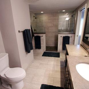 Diseño de cuarto de baño tradicional renovado con lavabo bajoencimera, puertas de armario grises, encimera de piedra caliza, ducha abierta, baldosas y/o azulejos grises y baldosas y/o azulejos de porcelana
