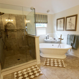 Master Bath Remodel with Soaker Tub, Custom Tiled Shower and Warm Gray Vanity