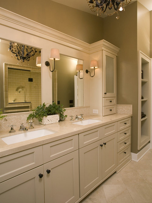 Bathroom   Traditional Beige Tile Bathroom Idea In Seattle With An  Undermount Sink, Shaker Cabinets