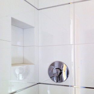 Small cottage chic 3/4 white tile and porcelain tile alcove shower photo in Orange County with white walls