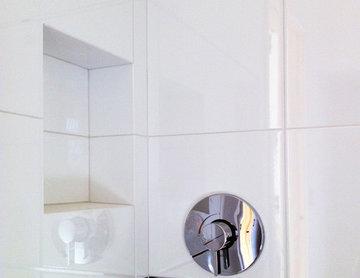 master bath | shower white tile and chrome finishes