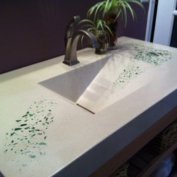 Master Bath Sinks - White Concrete Sinks with green glass inlay, custom built vanity to match design