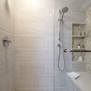 Bathroom - large modern master beige tile and porcelain tile porcelain tile and beige floor bathroom idea in Philadelphia with flat-panel cabinets, dark wood cabinets, a one-piece toilet, white walls, an undermount sink, quartz countertops and a hinged shower door