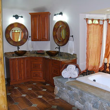 Eclectic Bathroom Master Bath Tub Surround in Stone