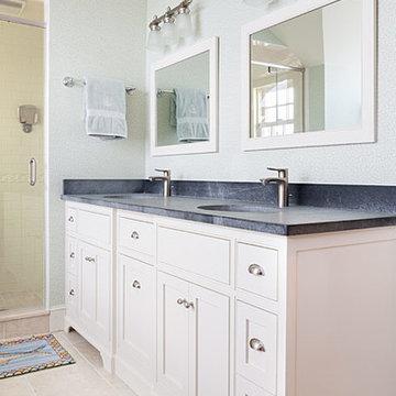 Master  bath vanity with Barroca soapstone counters
