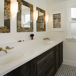 Inspiration for an eclectic bathroom remodel in San Francisco with an undermount sink and distressed cabinets