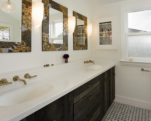 Inspiration For An Eclectic Bathroom Remodel In San Francisco With Undermount Sink And Distressed Cabinets