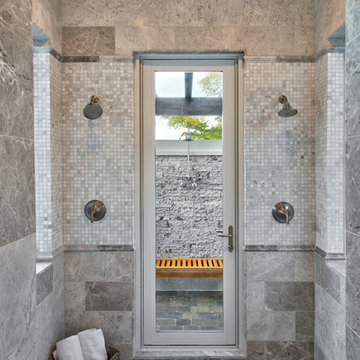 Master bath with access to outdoor shower