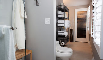 Master bath with enlarged shower and espresso bamboo vanity