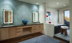 Master bath with glass pebble back splash and floating vanity