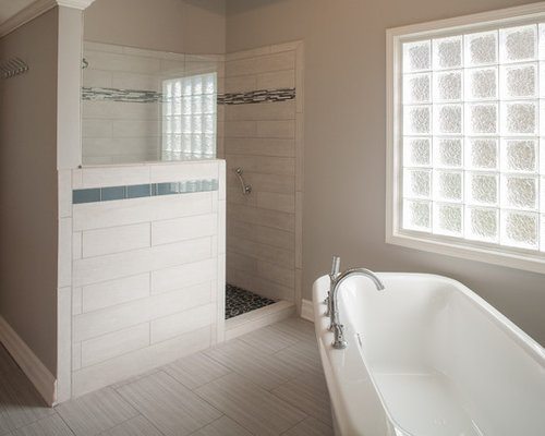 Master Bath With Walk In Shower And Freestanding Tub