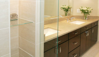 master bath with walk-in shower and under sink cabinetry
