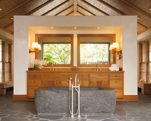 Inspiration For A Tropical Bathroom Remodel In San Francisco With Medium  Tone Wood Cabinets And A