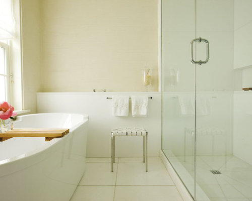 Inspiration For A Contemporary Freestanding Bathtub Remodel In New York