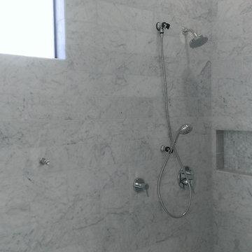 "Master Bathroom - 6"" x 18"" Carrera Marble Showers / Vanity Walls"