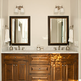 Inspiration for a rustic bathroom remodel in Atlanta with marble countertops
