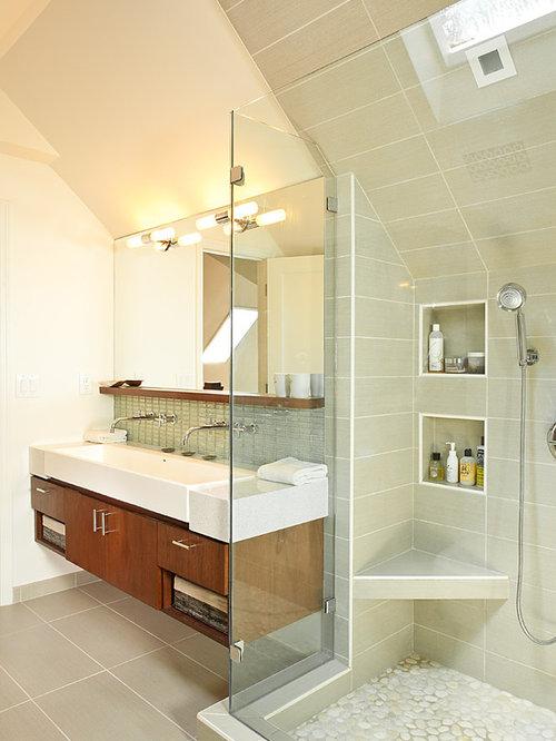Example Of A Trendy Bathroom Design In Atlanta With A Vessel Sink