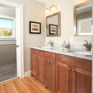 ミネアポリスのトラディショナルスタイルのおしゃれな浴室 (アンダーカウンター洗面器、シェーカースタイル扉のキャビネット、中間色木目調キャビネット) の写真
