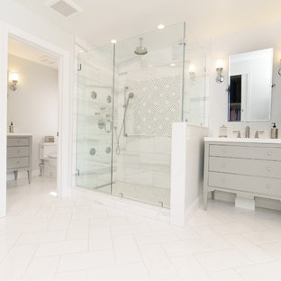 Bathroom - large contemporary master white tile and marble tile marble floor and white floor bathroom idea in Other with flat-panel cabinets, gray cabinets, gray walls, an undermount sink, quartzite countertops and a hinged shower door