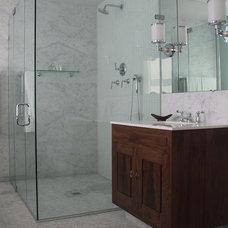 Transitional Bathroom by Ania Stempi
