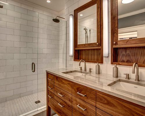 Inspiration for a craftsman master alcove shower remodel in Seattle with an  undermount sink  flat. Communal Bathroom   Houzz