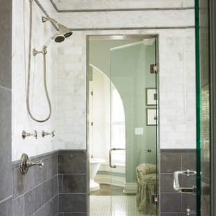 Double shower - contemporary marble tile double shower idea in Atlanta