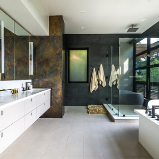75 beautiful beige tile bathroom with black walls pictures