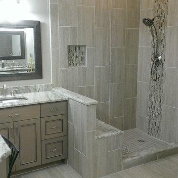 """MASTER BATHROOM - Complete remodel 12"""" x 24"""" Vertical Tile"""