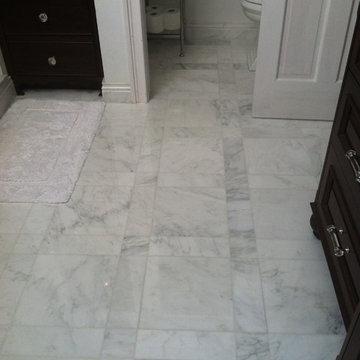 Master Bathroom - Custom floor pattern and cabinetry