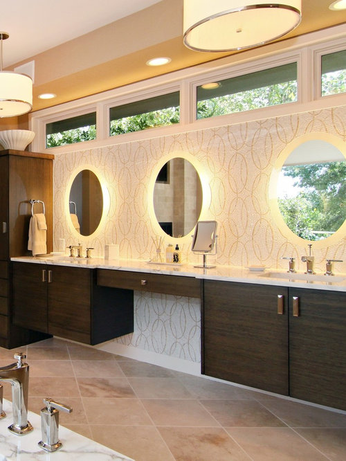 inspiration for a large master mosaic tile travertine floor bathroom remodel in minneapolis with flat