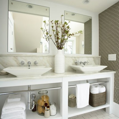 Inspiration for a timeless bathroom remodel in Minneapolis with marble countertops and a vessel sink