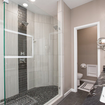 Master Bathroom   Expand Shower   New Tile Floors and Leather Granite Countertop