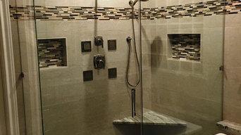 MASTER BATHROOM - Free Standing Tub / Crema Marfil Tile / White Reef Granite