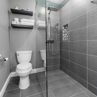 Walk-in shower - small modern master gray tile and ceramic tile ceramic tile walk-in shower idea in Baltimore with a vessel sink, a two-piece toilet and gray walls