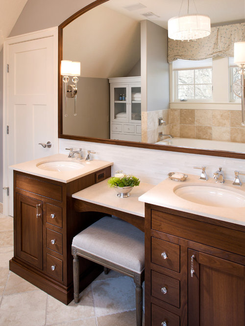 Dual Vanity With Makeup Counter - Dual Vanity With Makeup Counter Houzz