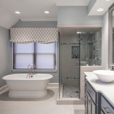 transitional bathroom by Jaclyn Ehrlich