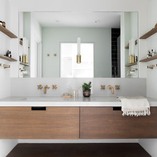 Mid-sized trendy master double-sink and gray floor bathroom photo in Boston with flat-panel cabinets, quartz countertops, dark wood cabinets, white walls, an undermount sink, white countertops and a floating vanity