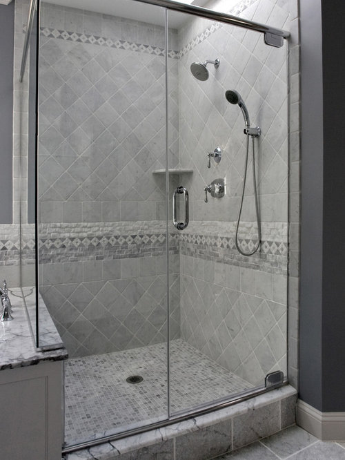 Shower tile pattern home design ideas pictures remodel for Glass tile border bathroom ideas