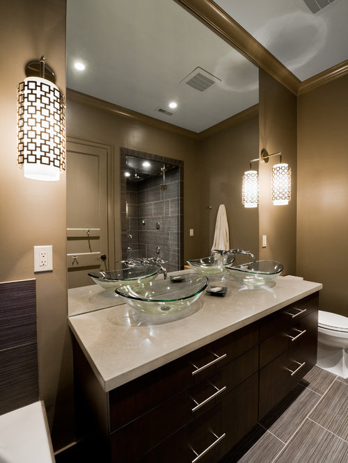 inspiration for a bathroom remodel in charlotte with a vessel sink and an alcove shower