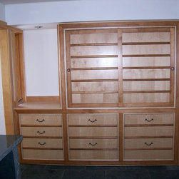 "Master Bathroom- North Liberty, Iowa - Natural and Stained maple, sliding doors, 7 drawers, 96"" w.x 24"" d. x 96"" tall"